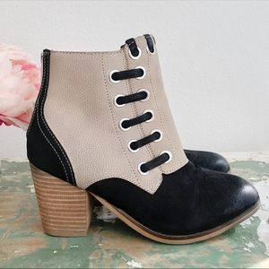 REBELS Black Tan Grommet Oversized Stitch Booties